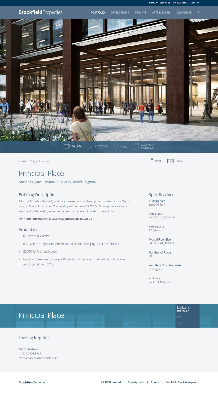 Brookfield Properties Website